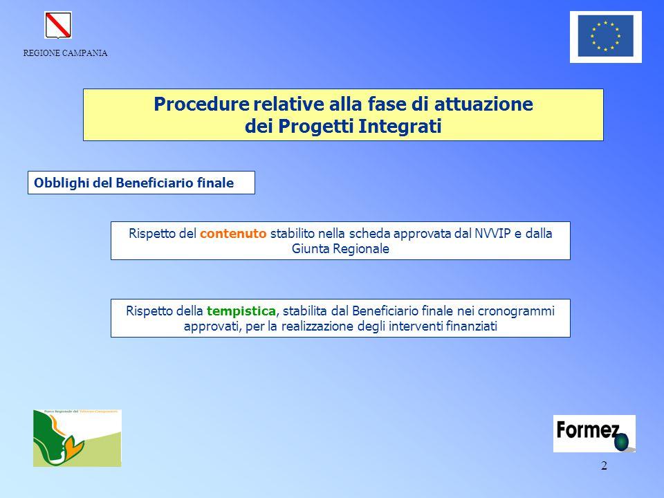 REGIONE CAMPANIA 2 Rispetto della tempistica, stabilita dal Beneficiario finale nei cronogrammi approvati, per la realizzazione degli interventi finan