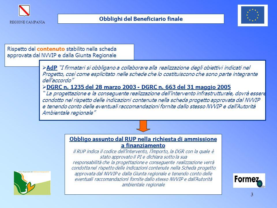 """REGIONE CAMPANIA 3 Rispetto del contenuto stabilito nella scheda approvata dal NVVIP e dalla Giunta Regionale  AdP """"I firmatari si obbligano a collab"""