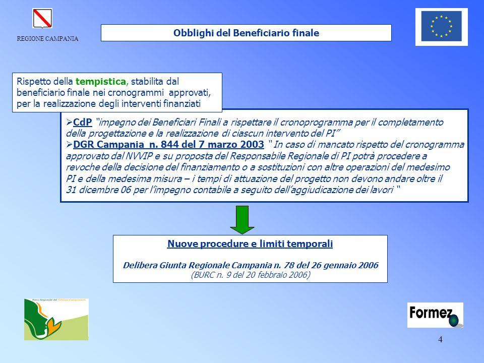 """REGIONE CAMPANIA 4  CdP """"impegno dei Beneficiari Finali a rispettare il cronoprogramma per il completamento della progettazione e la realizzazione di"""