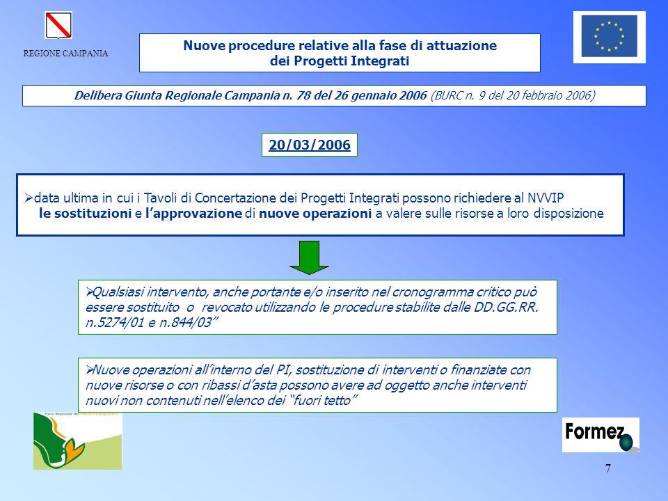REGIONE CAMPANIA 7  data ultima in cui i Tavoli di Concertazione dei Progetti Integrati possono richiedere al NVVIP le sostituzioni e l'approvazione
