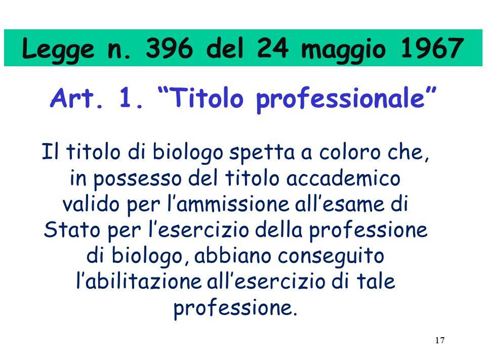 17 Legge n.396 del 24 maggio 1967 Art. 1.