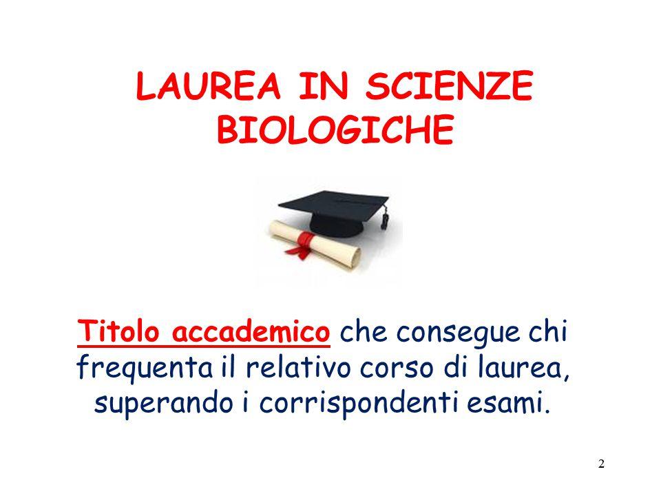 22 LAUREA IN SCIENZE BIOLOGICHE Titolo accademico che consegue chi frequenta il relativo corso di laurea, superando i corrispondenti esami.