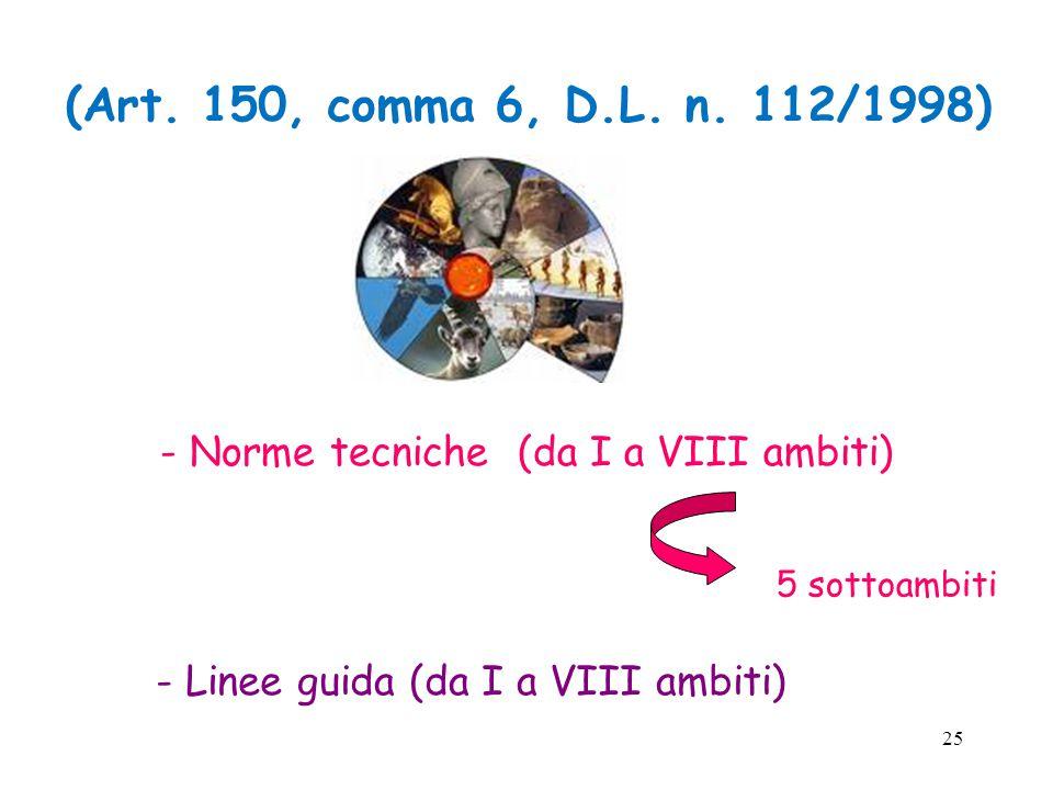 25 - Norme tecniche (da I a VIII ambiti) - Linee guida (da I a VIII ambiti) 5 sottoambiti (Art.