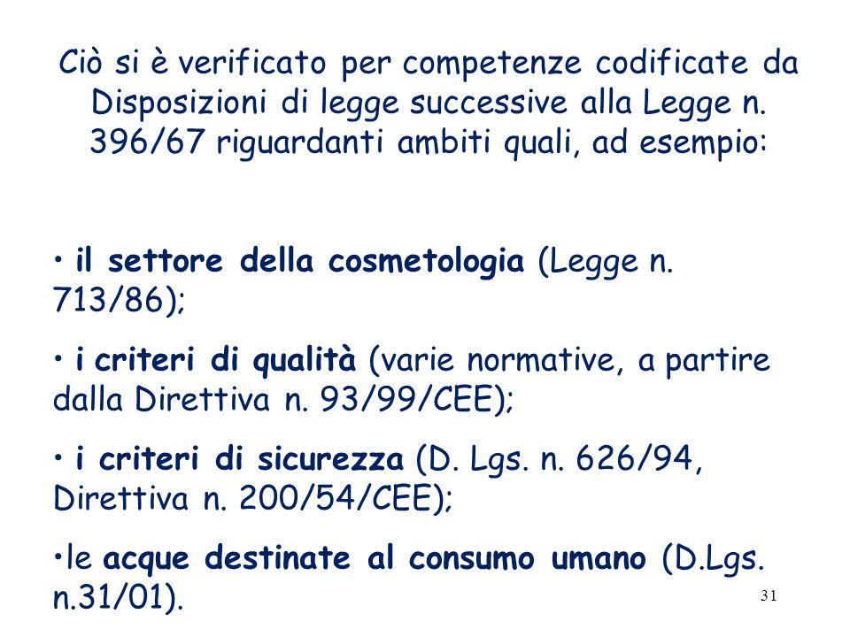 31 Ciò si è verificato per competenze codificate da Disposizioni di legge successive alla Legge n.