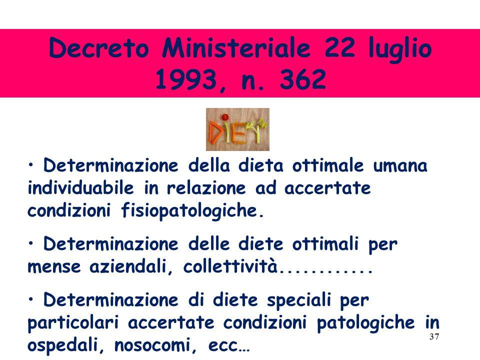 37 Determinazione della dieta ottimale umana individuabile in relazione ad accertate condizioni fisiopatologiche.