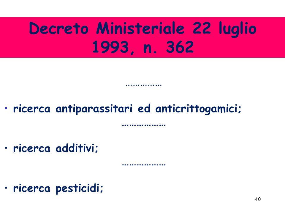 40 …………… ricerca antiparassitari ed anticrittogamici; ……………… ricerca additivi; ……………… ricerca pesticidi; Decreto Ministeriale 22 luglio 1993, n.