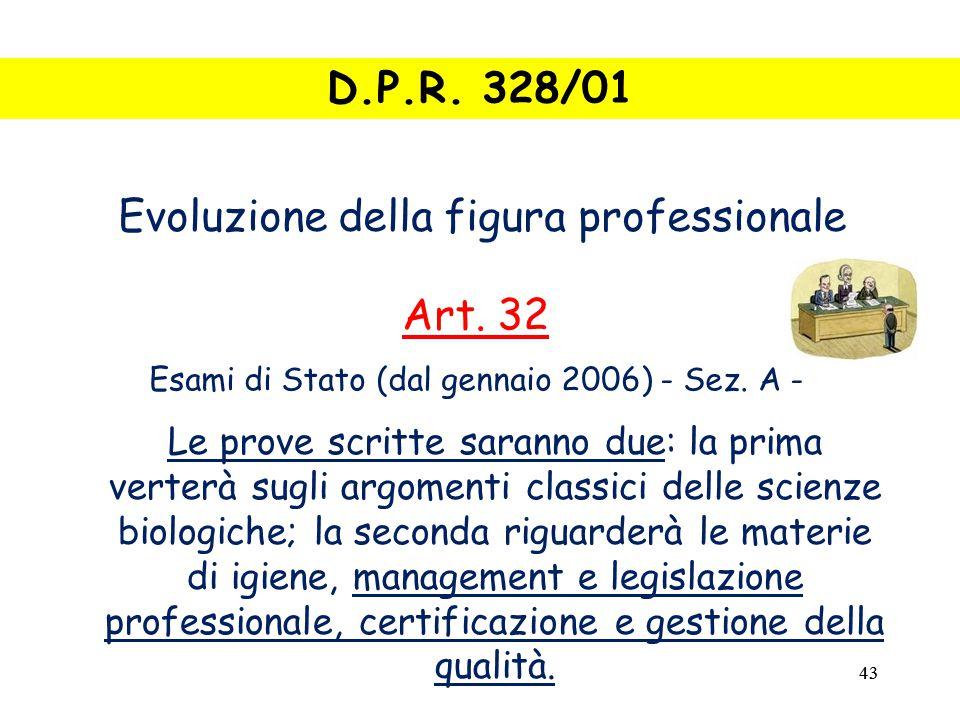 43 Evoluzione della figura professionale Art.32 Esami di Stato (dal gennaio 2006) - Sez.