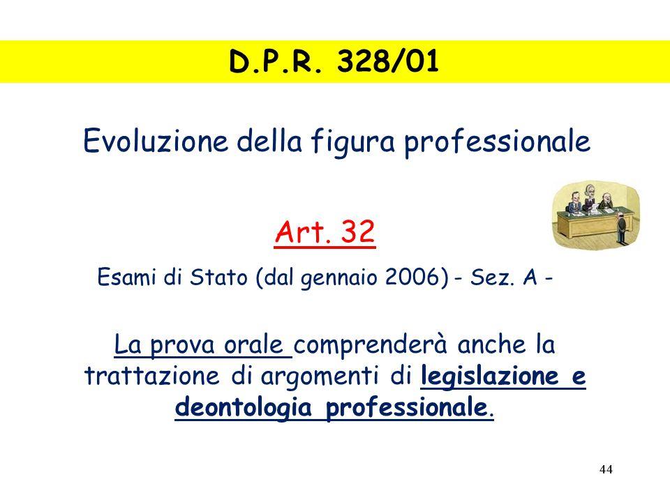 44 La prova orale comprenderà anche la trattazione di argomenti di legislazione e deontologia professionale.