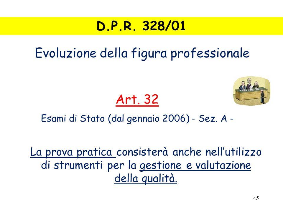 45 La prova pratica consisterà anche nell'utilizzo di strumenti per la gestione e valutazione della qualità.