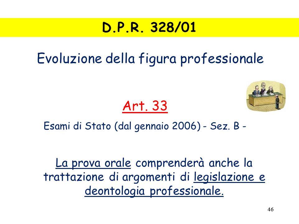 46 La prova orale comprenderà anche la trattazione di argomenti di legislazione e deontologia professionale.