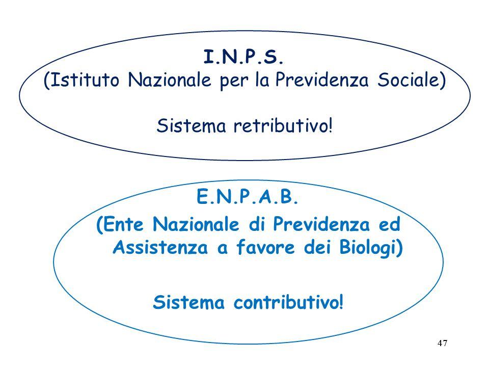 47 I.N.P.S. (Istituto Nazionale per la Previdenza Sociale) Sistema retributivo.