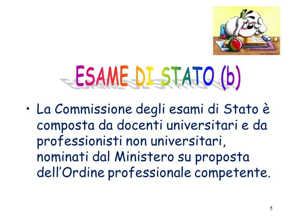 5 La Commissione degli esami di Stato è composta da docenti universitari e da professionisti non universitari, nominati dal Ministero su proposta dell'Ordine professionale competente.