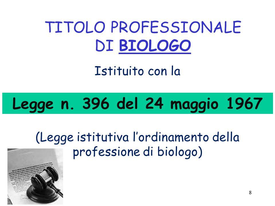 88 TITOLO PROFESSIONALE DI BIOLOGO Istituito con la (Legge istitutiva l'ordinamento della professione di biologo) Legge n.