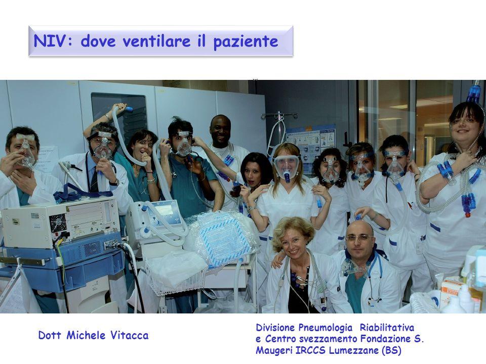 NIV: dove ventilare il paziente Dott Michele Vitacca Divisione Pneumologia Riabilitativa e Centro svezzamento Fondazione S. Maugeri IRCCS Lumezzane (B