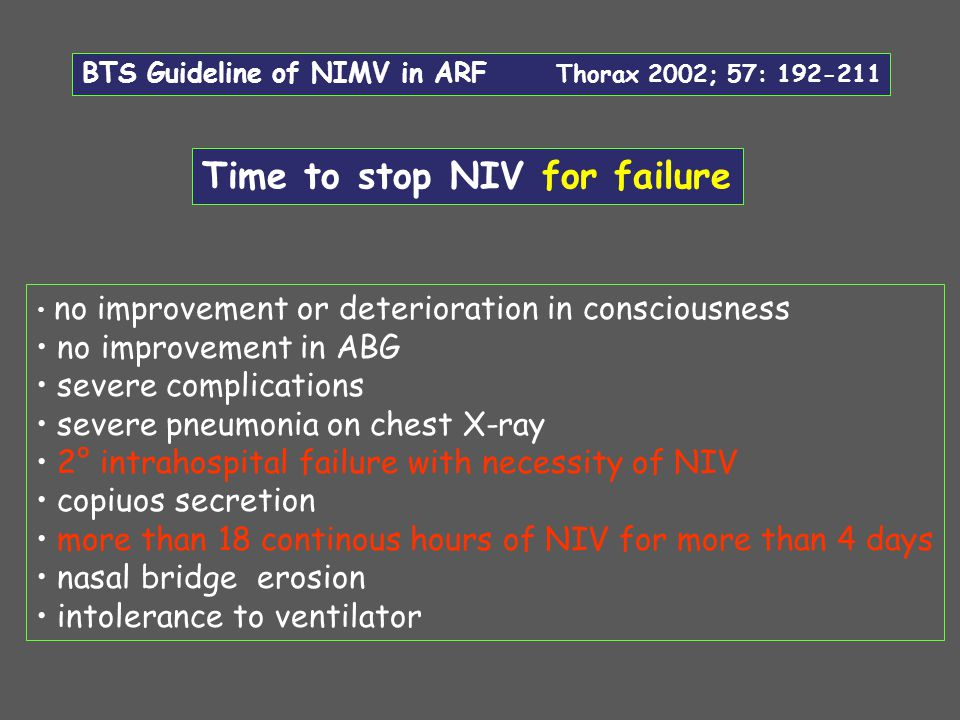 BTS Guideline of NIMV in ARF Thorax 2002; 57: 192-211 no improvement or deterioration in consciousness no improvement in ABG severe complications seve
