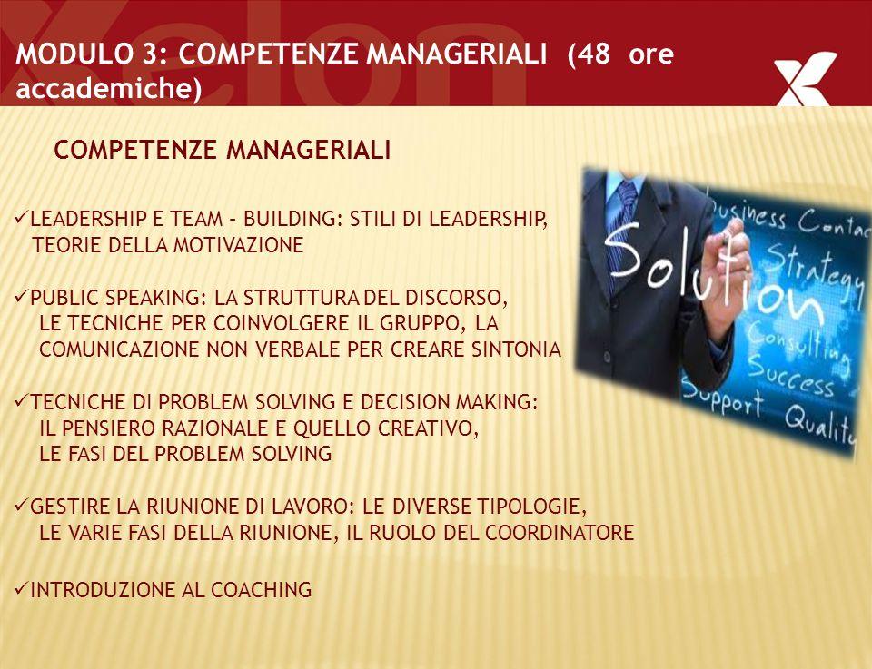 . MODULO 3: COMPETENZE MANAGERIALI (48 ore accademiche) LEADERSHIP E TEAM – BUILDING: STILI DI LEADERSHIP, TEORIE DELLA MOTIVAZIONE PUBLIC SPEAKING: LA STRUTTURA DEL DISCORSO, LE TECNICHE PER COINVOLGERE IL GRUPPO, LA COMUNICAZIONE NON VERBALE PER CREARE SINTONIA TECNICHE DI PROBLEM SOLVING E DECISION MAKING: IL PENSIERO RAZIONALE E QUELLO CREATIVO, LE FASI DEL PROBLEM SOLVING GESTIRE LA RIUNIONE DI LAVORO: LE DIVERSE TIPOLOGIE, LE VARIE FASI DELLA RIUNIONE, IL RUOLO DEL COORDINATORE INTRODUZIONE AL COACHING COMPETENZE MANAGERIALI