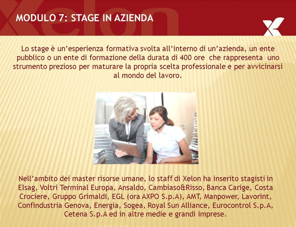 MODULO 7: STAGE IN AZIENDA Lo stage è un'esperienza formativa svolta all'interno di un'azienda, un ente pubblico o un ente di formazione della durata di 400 ore che rappresenta uno strumento prezioso per maturare la propria scelta professionale e per avvicinarsi al mondo del lavoro.
