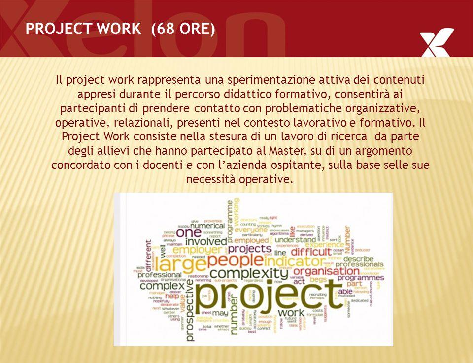 PROJECT WORK (68 ORE) Il project work rappresenta una sperimentazione attiva dei contenuti appresi durante il percorso didattico formativo, consentirà ai partecipanti di prendere contatto con problematiche organizzative, operative, relazionali, presenti nel contesto lavorativo e formativo.