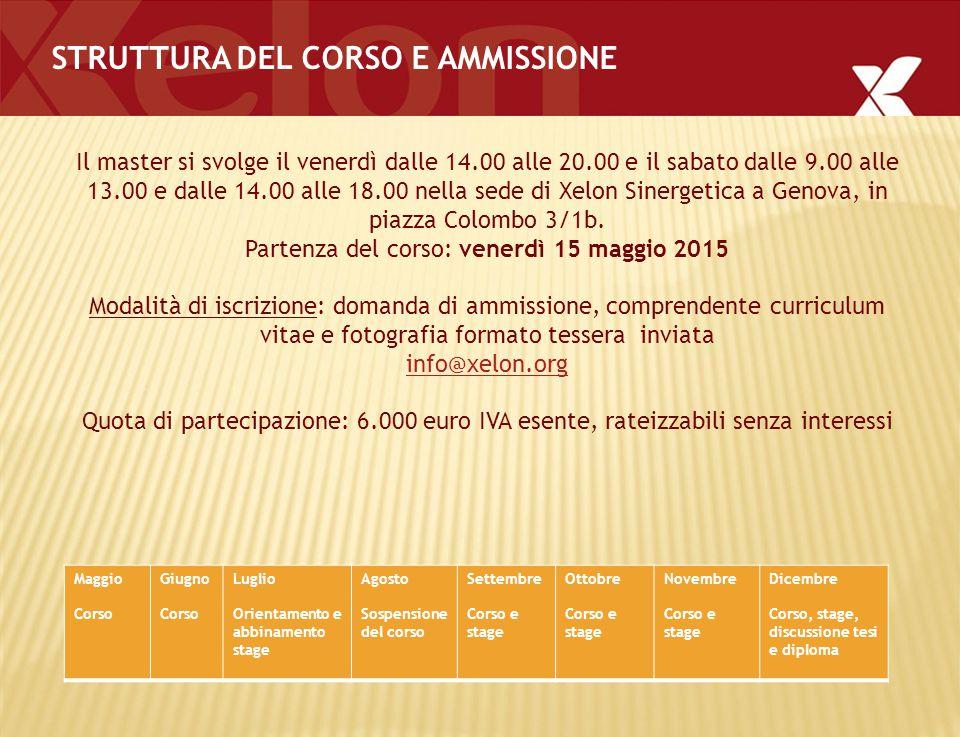 STRUTTURA DEL CORSO E AMMISSIONE Il master si svolge il venerdì dalle 14.00 alle 20.00 e il sabato dalle 9.00 alle 13.00 e dalle 14.00 alle 18.00 nella sede di Xelon Sinergetica a Genova, in piazza Colombo 3/1b.