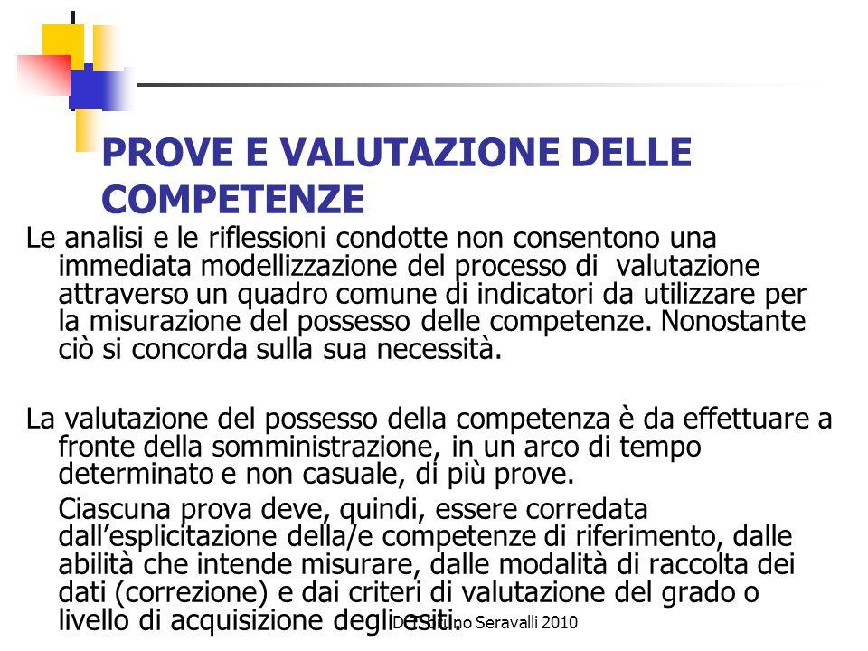 D.T. bruno Seravalli 2010 PROVE E VALUTAZIONE DELLE COMPETENZE Le analisi e le riflessioni condotte non consentono una immediata modellizzazione del p