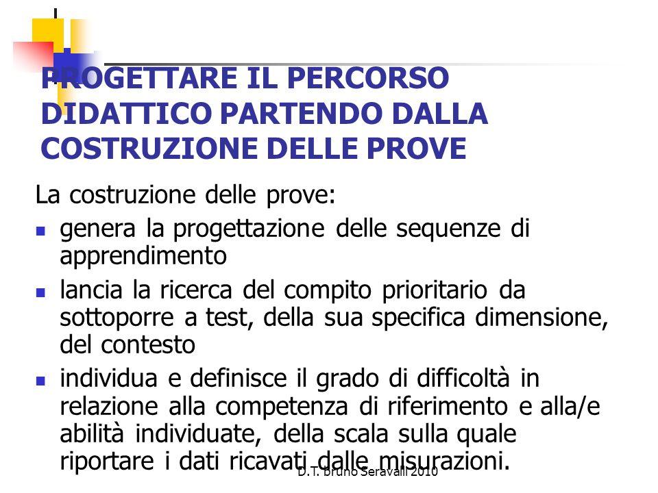 D.T. bruno Seravalli 2010 PROGETTARE IL PERCORSO DIDATTICO PARTENDO DALLA COSTRUZIONE DELLE PROVE La costruzione delle prove: genera la progettazione
