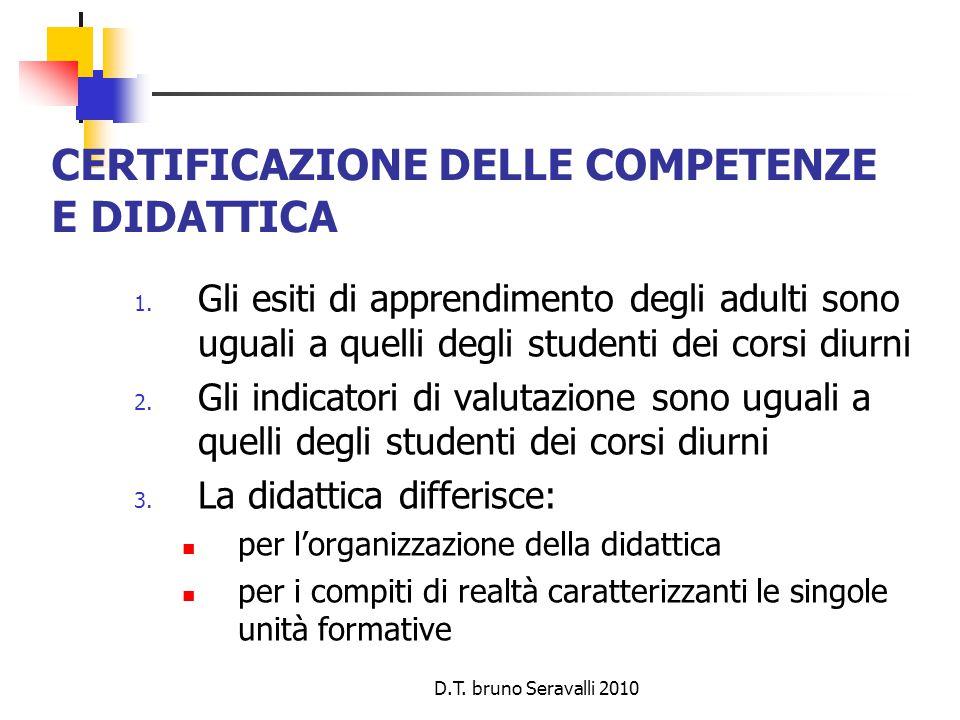 D.T. bruno Seravalli 2010 CERTIFICAZIONE DELLE COMPETENZE E DIDATTICA 1.