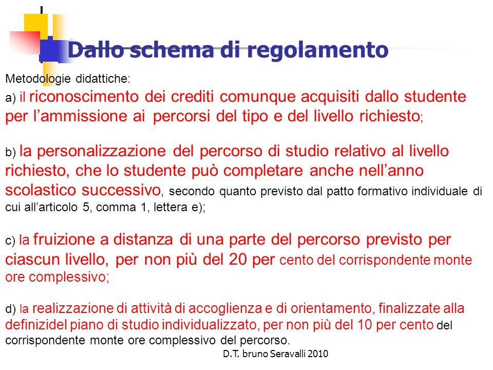 D.T. bruno Seravalli 2010 Dallo schema di regolamento Metodologie didattiche: a) il riconoscimento dei crediti comunque acquisiti dallo studente per l