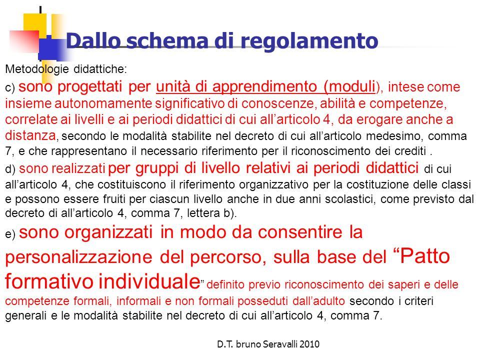 D.T. bruno Seravalli 2010 Dallo schema di regolamento Metodologie didattiche: c) sono progettati per unità di apprendimento (moduli ), intese come ins