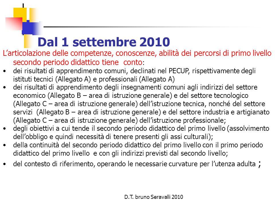 D.T. bruno Seravalli 2010 Dal 1 settembre 2010 L'articolazione delle competenze, conoscenze, abilità dei percorsi di primo livello secondo periodo did