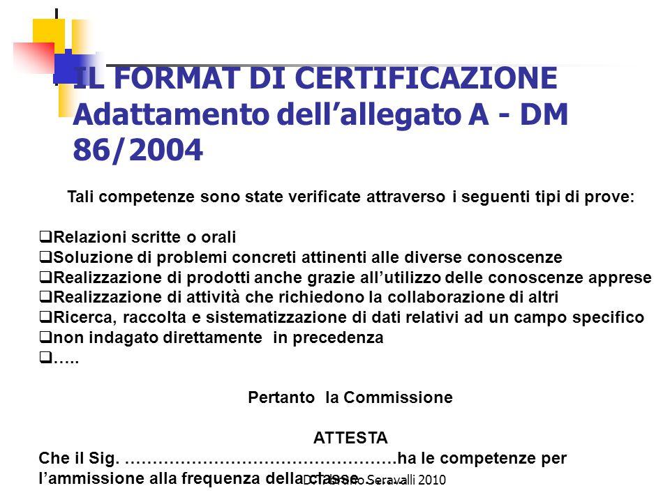 D.T. bruno Seravalli 2010 IL FORMAT DI CERTIFICAZIONE Adattamento dell'allegato A - DM 86/2004 Tali competenze sono state verificate attraverso i segu