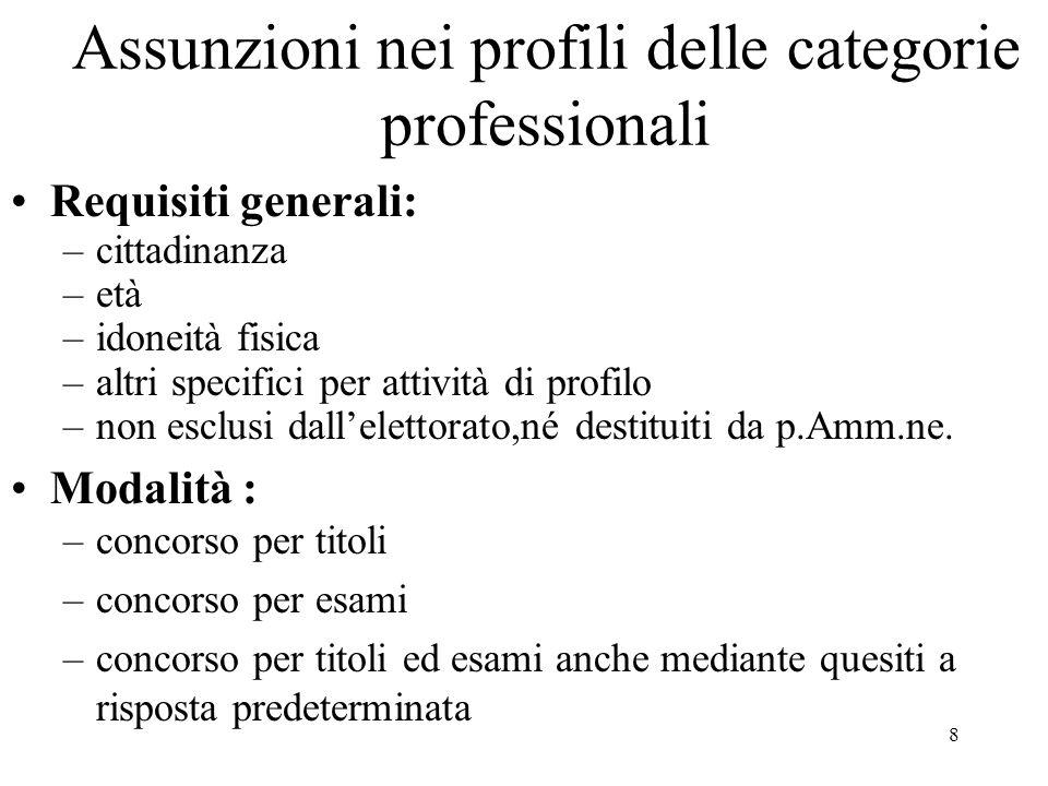 8 Assunzioni nei profili delle categorie professionali Requisiti generali: –cittadinanza –età –idoneità fisica –altri specifici per attività di profil