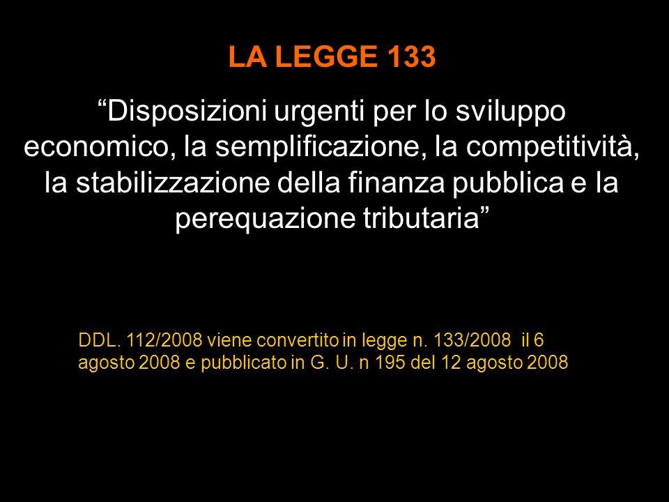 DDL.112/2008 viene convertito in legge n. 133/2008 il 6 agosto 2008 e pubblicato in G.