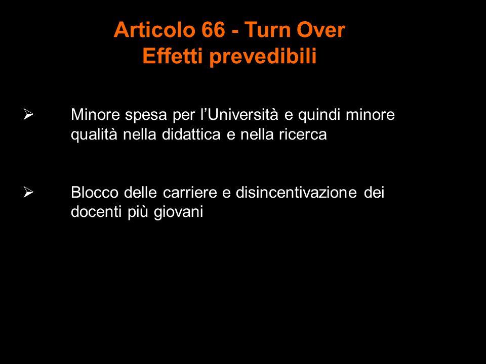 Articolo 66 - Turn Over Effetti prevedibili  Minore spesa per l'Università e quindi minore qualità nella didattica e nella ricerca  Blocco delle carriere e disincentivazione dei docenti più giovani