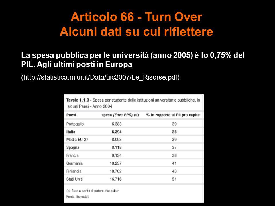 Articolo 66 - Turn Over Alcuni dati su cui riflettere La spesa pubblica per le università (anno 2005) è lo 0,75% del PIL.