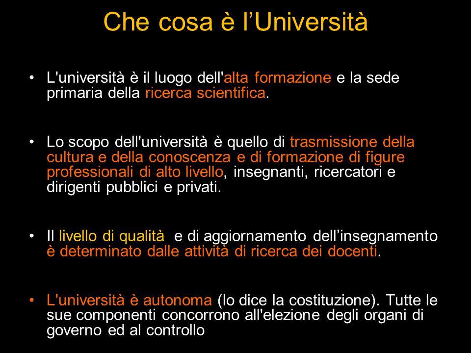 Che cosa è l'Università L università è il luogo dell alta formazione e la sede primaria della ricerca scientifica.