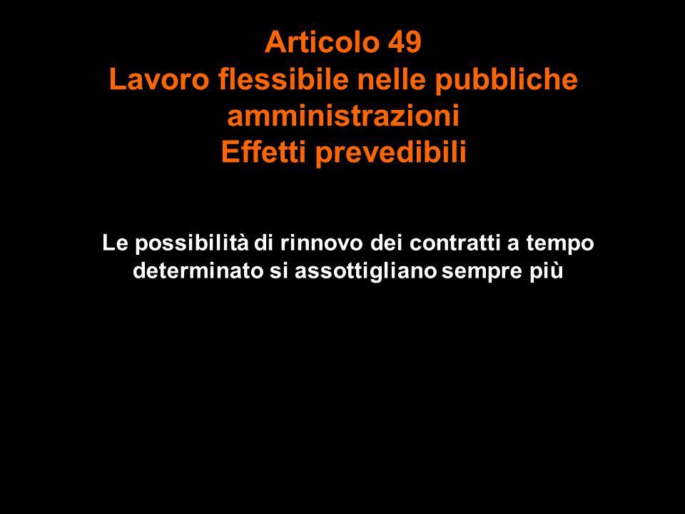 Articolo 49 Lavoro flessibile nelle pubbliche amministrazioni Effetti prevedibili Le possibilità di rinnovo dei contratti a tempo determinato si assottigliano sempre più