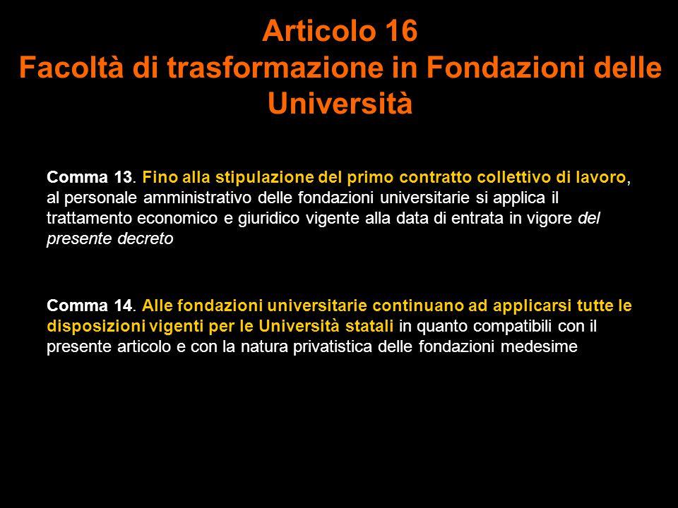 Articolo 16 Facoltà di trasformazione in Fondazioni delle Università Comma 13.