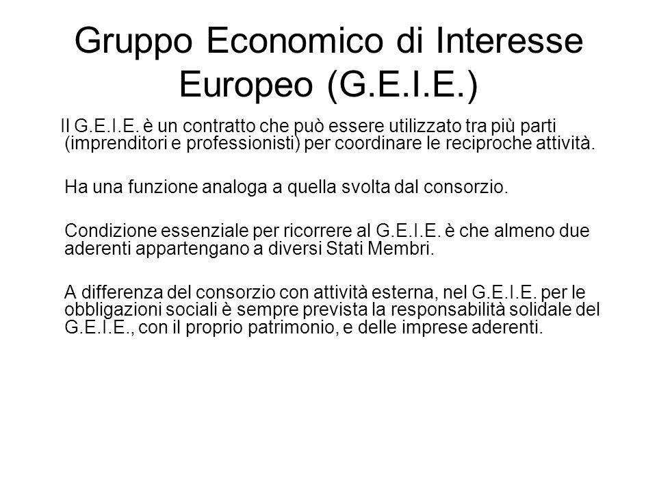 Gruppo Economico di Interesse Europeo (G.E.I.E.) Il G.E.I.E. è un contratto che può essere utilizzato tra più parti (imprenditori e professionisti) pe