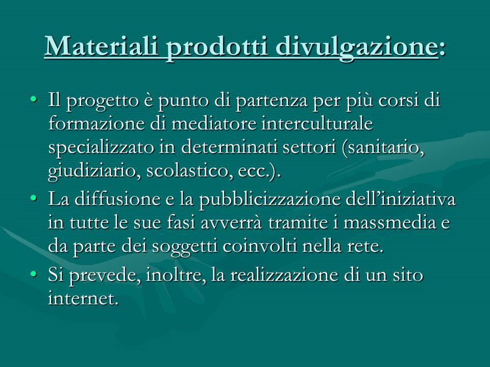 Materiali prodotti divulgazione: Il progetto è punto di partenza per più corsi di formazione di mediatore interculturale specializzato in determinati