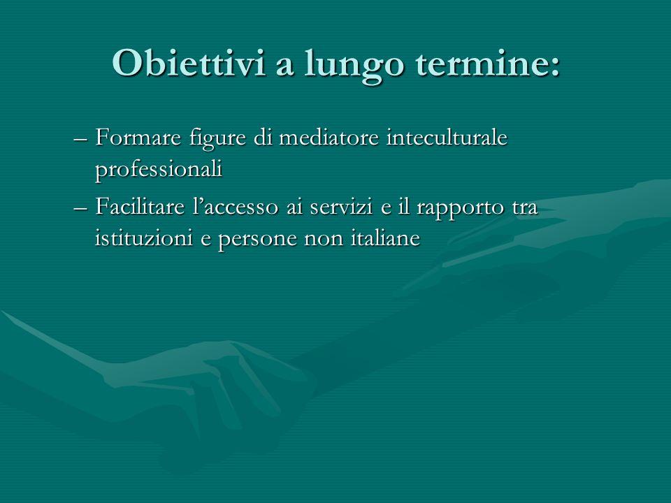 Obiettivi a lungo termine: –Formare figure di mediatore inteculturale professionali –Facilitare l'accesso ai servizi e il rapporto tra istituzioni e persone non italiane