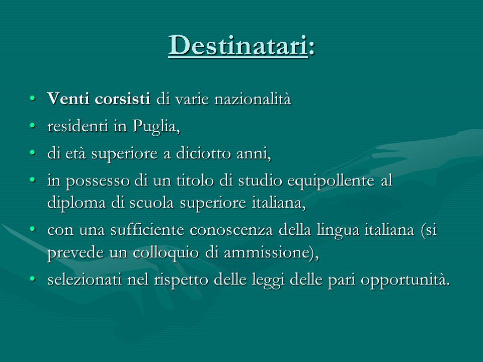 Destinatari: Venti corsisti di varie nazionalitàVenti corsisti di varie nazionalità residenti in Puglia,residenti in Puglia, di età superiore a diciot
