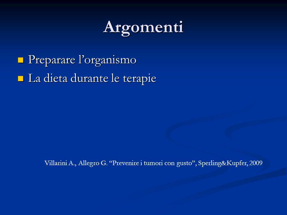 Argomenti Preparare l'organismo Preparare l'organismo La dieta durante le terapie La dieta durante le terapie Villarini A., Allegro G.