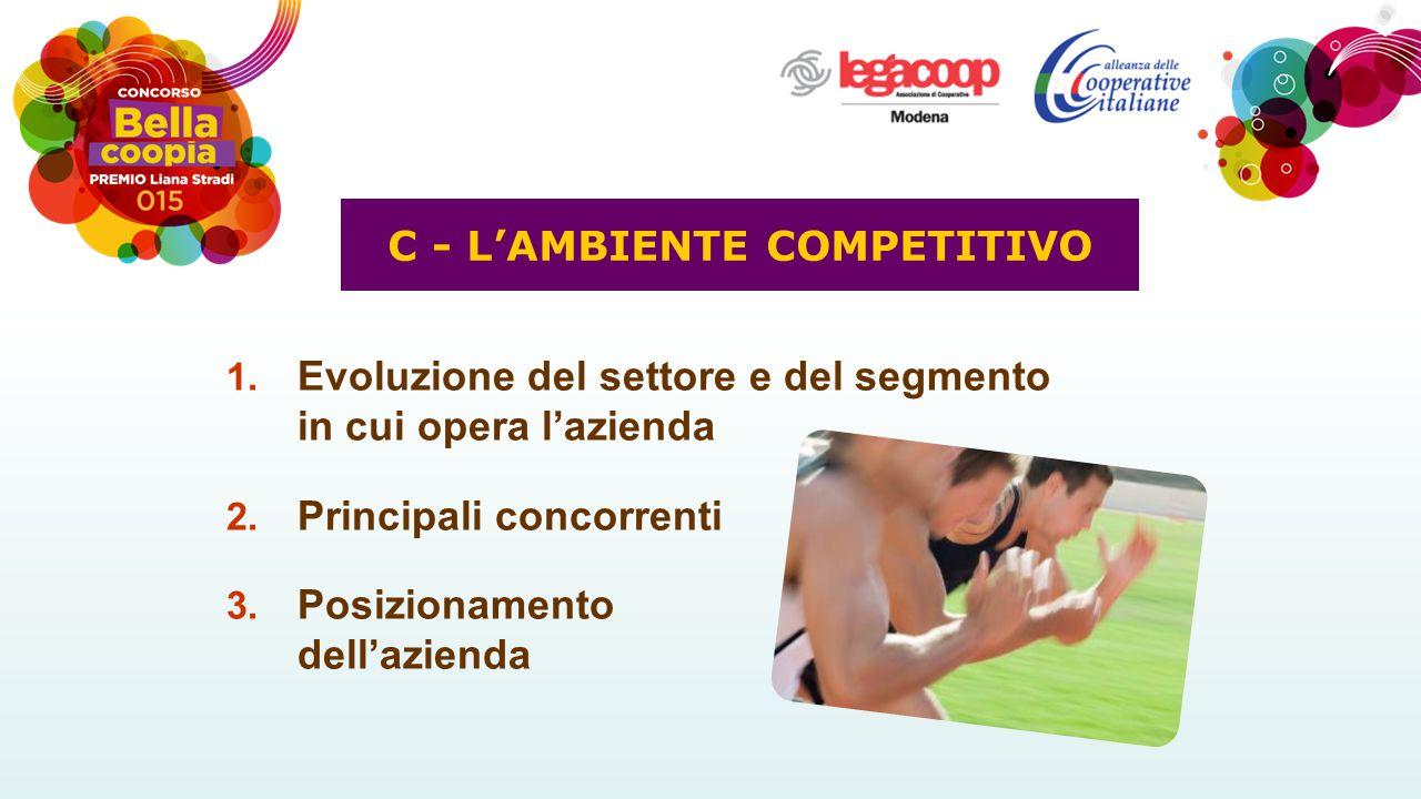 1. Evoluzione del settore e del segmento in cui opera l'azienda 2. Principali concorrenti 3. Posizionamento dell'azienda C - L'AMBIENTE COMPETITIVO