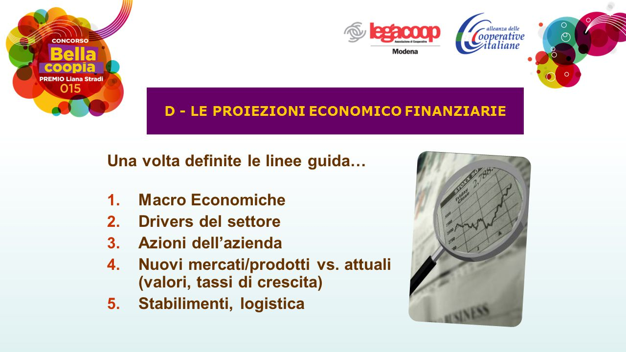 Una volta definite le linee guida… 1. Macro Economiche 2. Drivers del settore 3. Azioni dell'azienda 4. Nuovi mercati/prodotti vs. attuali (valori, ta