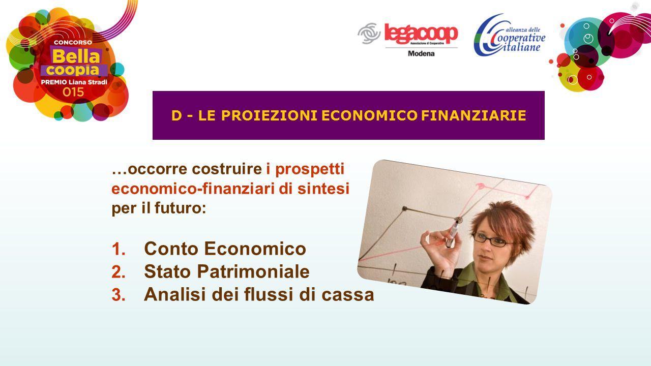 …occorre costruire i prospetti economico-finanziari di sintesi per il futuro: 1. Conto Economico 2. Stato Patrimoniale 3. Analisi dei flussi di cassa