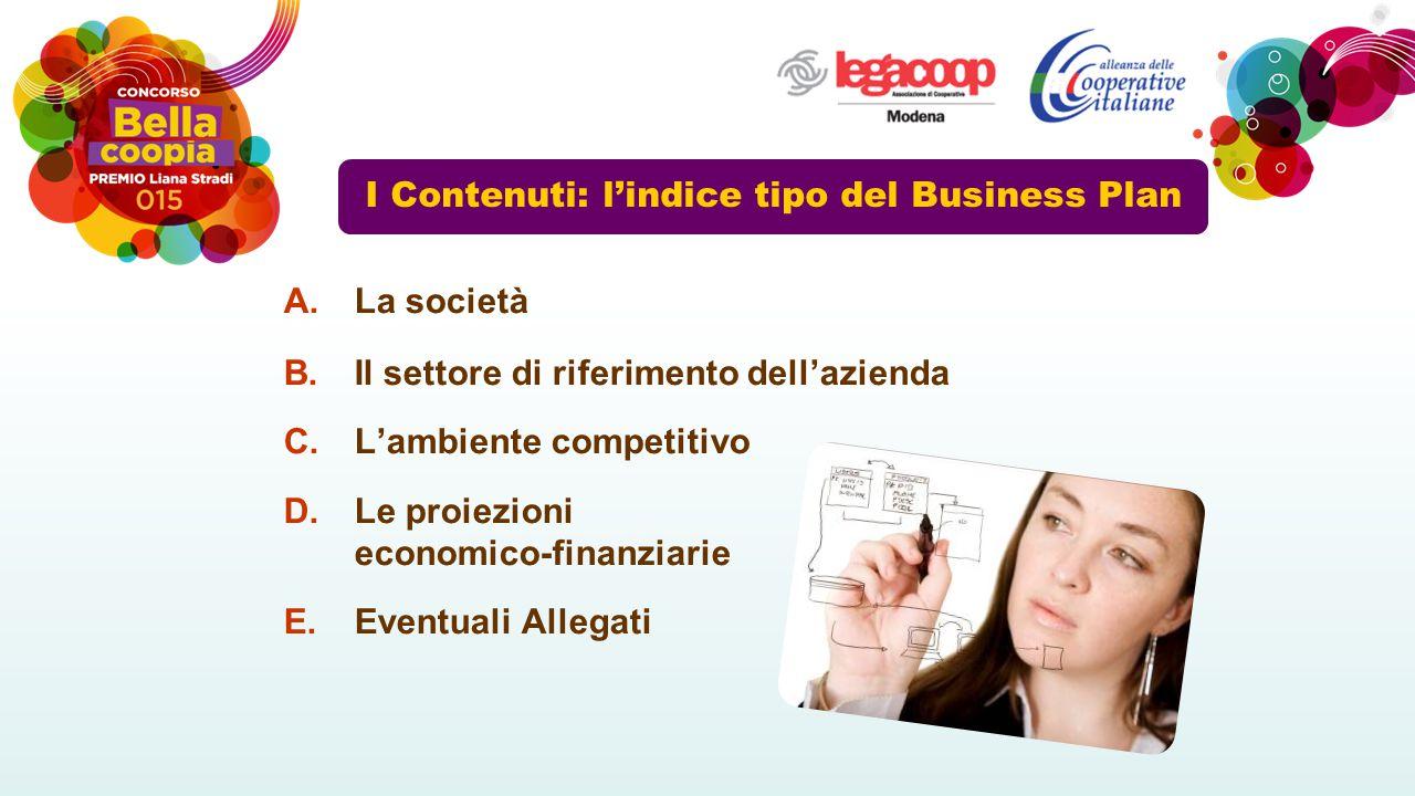 I Contenuti: l'indice tipo del Business Plan A.La società B.Il settore di riferimento dell'azienda C.L'ambiente competitivo D.Le proiezioni economico-