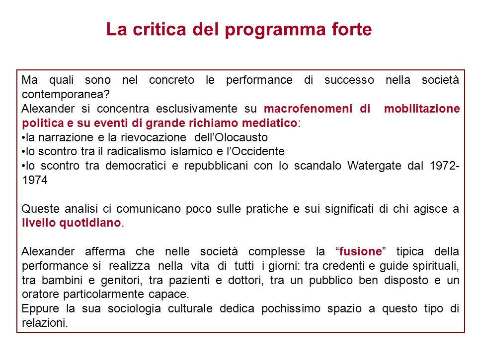 Ma quali sono nel concreto le performance di successo nella società contemporanea.