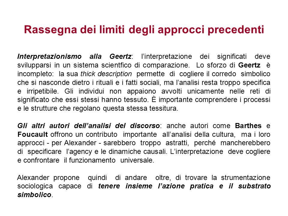 Rassegna dei limiti degli approcci precedenti Interpretazionismo alla Geertz: l'interpretazione dei significati deve svilupparsi in un sistema scientfico di comparazione.