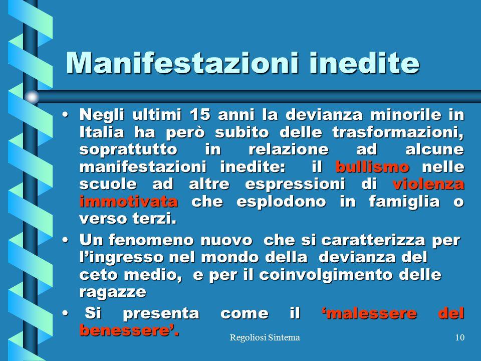 Regoliosi Sintema10 Manifestazioni inedite Negli ultimi 15 anni la devianza minorile in Italia ha però subito delle trasformazioni, soprattutto in rel