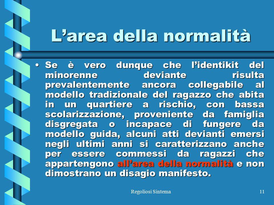 Regoliosi Sintema11 L'area della normalità Se è vero dunque che l'identikit del minorenne deviante risulta prevalentemente ancora collegabile al model
